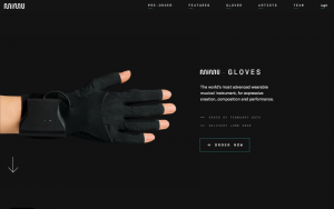 A screenshot of the Mimu Gloves website