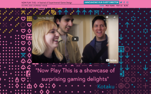 A screenshot of the Now Play This website